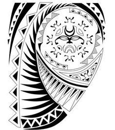 A Polynesian Tattoo Design with tiki, enata and shark symbols.