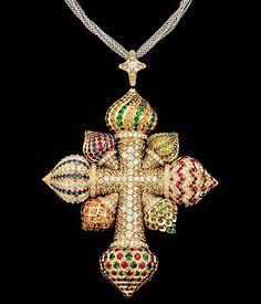 YERETSO. Multi-Gem and Diamond studded Kremlin Cross.