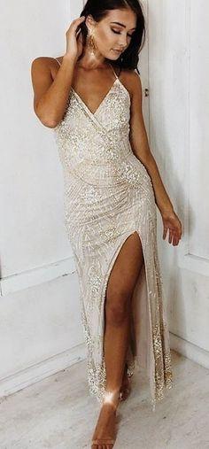 #winter #outfits white surplice neckline spaghetti strap maxi dress