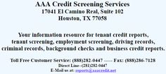AAA Credit Screening Services has been awarded an A+ Gold Star Rating by the Better Business Bureau for being a leading tenant screening and background checking company in the USA.  AAA Credit is offering cost effective solutions to employers, property managers, realtors, and landlords. http://www.bestcheck.com/