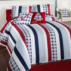 Hatteras Stripe Nautical Quilted Oversized Bedspread Bedding