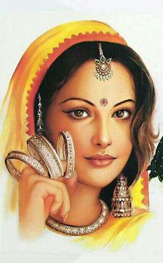 Coloring for adults - Kleuren voor volwassenen Rajasthani Painting, Rajasthani Art, Indian Women Painting, Indian Art Paintings, India Painting, Woman Painting, Indian Drawing, India Art, Krishna Art