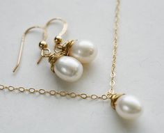 Bridal Jewelry Set,4 Sets,Wire wrapped Pearl Necklace and Earrings,Wedding Jewelry gift,Mother Jewelry. $208.00, via Etsy.