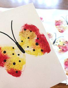 Sponge Stamped Butterflies for Kids