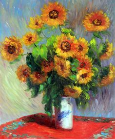 Monet - Sunflowers  -  Hand painted oil painting reproductions available at overstockArt.com
