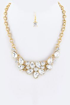 Mix Crystal Flower Necklace + Earring Set