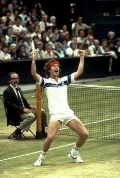 John McEnroe celebrating his first Wimbledon title, 1981.  #tennis