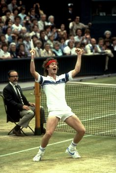 John McEnroe celebrating his first Wimbledon title, 1981.  #tennis