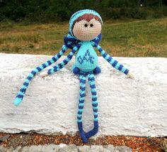 Baby toy Elf Azure / Cute stuffed animal for baby / Crochet kids Toy / Eco-friendly toys / Elf on the shelf
