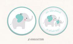 Elephant Cupcake Topper / Elephant Topper / Little Peanut Cupcake Topper / Little Peanut Topper / Elephant Baby Shower Tags designed by Lovely Letters Design  lovelylettersdesign.com