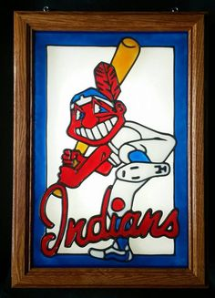 Cleveland Indians  Chief Wahoo  Window Art  faux stain glass