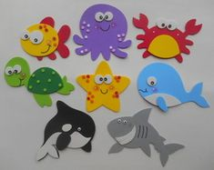 Under the Sea Die Cut Shark Crab Whale Seahorse Jellyfish Starfish Octopus Fish Turtle Shell Cut Out Customize Your Set Choose Size & Colors Christmas Crafts For Kids To Make, Paper Crafts For Kids, Diy For Kids, Craft Activities, Preschool Crafts, Felt Animal Patterns, Under The Sea Theme, Sea Crafts, Animal Crafts