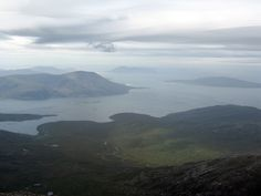 The island of Harris has lovely hills, the highest being An Cliseam from which this hazy view was taken. Scottish Mountains, Cairngorms National Park, B & B, Wonderful Places, Climbing, Scotland, Trail, National Parks, Walking