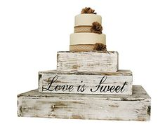 Country Rustic Wedding Solid Wood Cake Cupcake by ContessaGarters