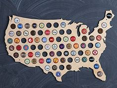 A beer bottle map that is a perfect way to help someone preserve memories of the best beers they've tried.