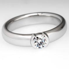Tiffany & Co. Etoile Engagement Ring Bezel Set Diamond Platinum