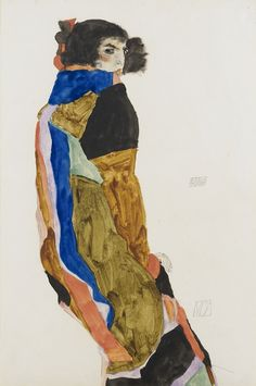 The depictions of Moa provide a unique look at Egon Schiele's milieu. Moa was an icon of turn-of-the-century Viennese culture, and she served as Schiele's model for numerous portraits.  He conceives of the decorative dress not as an end in itself,  but instead depicting the surfaces and bands of colour so dynamically that they actually suggest the dancer's movements.