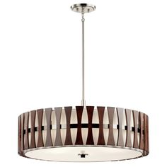 The KICHLER Cirus 14 in. 5-Light Auburn Stain Convertible Pendant Light features contemporary design and wood panels that are sure to enhance the decor of your space. The white linen fabric shade and tempered etched glass diffuser create a soft glow when illuminated. This fixture can be used as a semi-flush ceiling light or as a pendant light depending on your preference. The durable steel construction of this pendant light ensures many years of worry-free use. It is a suitable addition to… Drum Pendant, Ceiling Pendant, Ceiling Fixtures, Pendant Lighting, Light Pendant, Edison Lighting, Ceiling Lamps, Chandelier, Semi Flush Ceiling Lights