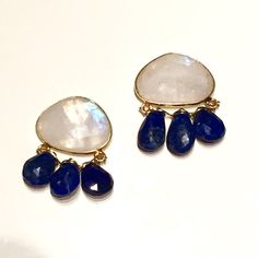 Moonstone and Lapis Gemstone Stud Earrings