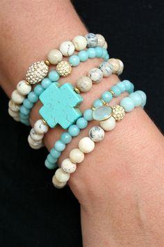 Liv-N-Grace Jewelry - Amazonite Turq Cross Set