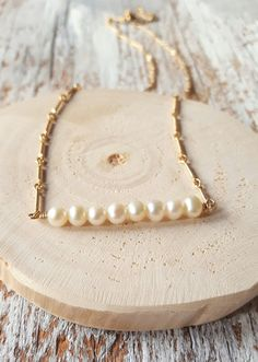 Pearl bar necklace  layer layering jewelry by thepearlrefinery