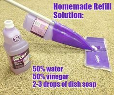 DIY Swiffer WetJet cleaning solution.  I saw a pin that said in order to get the lids off of the solution container, hold the cap in boiling...