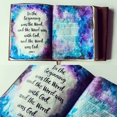I have officially been Bible journaling for a year! To celebrate, I figured I'd start at the beginning. ☄ Materials used ▪Dina Wakley's clear gesso ▪Kuretake Gansai Tambi watercolors ▪White acrylic paint ▪Pentel Aquash water brushes ▪Regular paint brushes  #biblejournaling #biblejournalingcommunity #bibleart #genesis #illustratedfaith #shepaintstruth #icolorinmybible #oneyearanniversary #watercolor #brushlettering #galaxy
