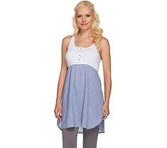 One and done. Pull on this henley-style chemise from Jane & Bleeker for an effortless end to your day. Page 1 QVC.com
