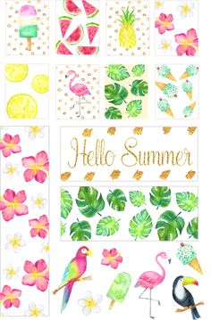 Free Printable Erin Condren and Happy Planner Stickers. Summer tropical planner stickers.