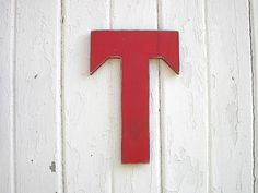 Wooden Letter T Red Shabby Chic Rustic Cottage Wedding Photo Prop Wall Art