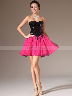 Two Tone Sweetheart A Line Cocktail Dress with Sequined Bodice