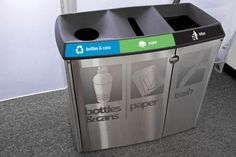 Transit Litter & Recycling Receptacle, custom Satin Stainless Steel