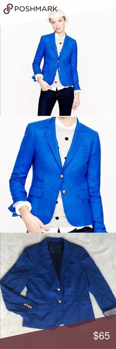 J. Crew Schoolboy Blazer in Cobalt Blue The classic Schoolboy blazer by J. Crew in a beautiful cobalt blue color with gold detailing! Has small pin size hole at collar as shown in pic. Regardless, this is an beautiful piece to add to your wardrobe! I feel like you can get many different looks with this! Dress up or down! J. Crew Jackets & Coats Blazers