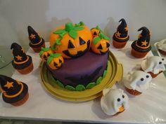 Bolo e cup cakes em pasta americana - tema halloween