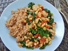 Chicken sausage, white beans and kale with bulgur