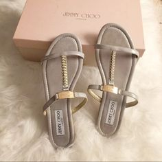 Final price❣Jimmy choo shimmer suede crystal flats Very cute!! Brand new pair. Purchased from Nordstrom. Comes with shoe box. No dust bag.  100% authentic.  Still have the protection tape on the hardware.  no trades  Jimmy Choo Shoes
