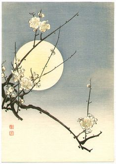 Plum blossoms and the moon, woodblock print by Koho ca. Japan Painting, Ink Painting, Watercolor Art, Traditional Japanese Art, Traditional Paintings, Art Chinois, Art Asiatique, Art Japonais, Korean Art