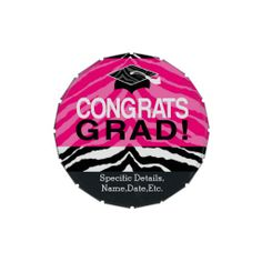 Personalized Pink Black Zebra Graduation Party Favor Candy Tin, Pre-filled with Colorful Jelly Belly or Mints! #classof2014 #graduation #gradparty @Zazzle Inc.