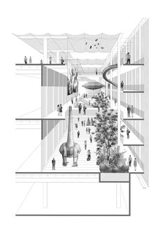Section Drawing Architecture, Museum Architecture, Architecture Collage, Architecture Graphics, Architecture Portfolio, Concept Architecture, Architecture Design, Architecture Diagrams, Architectural Section