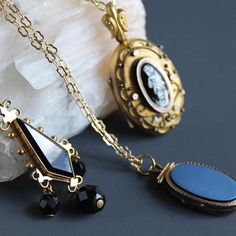 3 days to launch of the online shop! Find stunning #antique #jewelry like these #necklace pieces featuring rolled #gold and #onyx . . . . . #boutiques #style #vintage #lowkeygoth #mourningjewelry #mourning #georgianjewelry #victorianjewelry #victorian #etruscan #style #georgianjewelry #jewelry #mourning #mourningjewelry #foxhaven #loverseye #crystals #foxhaven