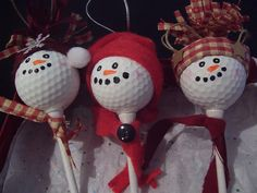 Golf Ball Snowmen Ornaments I Rock Bottom Golf Diy Christmas Ornaments, Homemade Christmas, Christmas Snowman, Christmas Decorations, Golf Decorations, Spoon Ornaments, Ball Ornaments, Christmas Stuff, Snowman Crafts