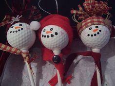 Golf Ball Snowmen Ornaments
