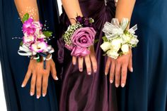 DIY.....this is ADORABLE!!! <3 <3 <3 Purple wristlets instead of a boquet of flowers