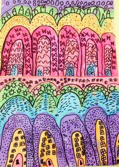Graphisme-MS  Ponts encres colorées, feutres noirs