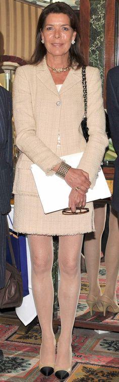 Princess Caroline of Monaco wearing Chanel head to toe~ blush colored tweed…