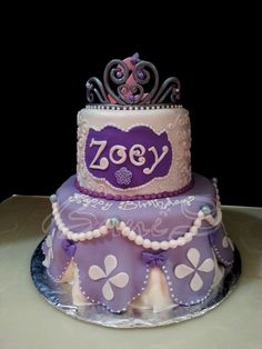 Disney Princess Sophia Cake | Sophia the 1st theme cake. 2nd birthday cake, tiara,disney princess