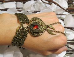 Ruby Red Boho Slave Bracelet, Ring Bracelet, Heart Jewelry, Charm Bra ...