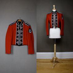 Vintage marching band uniform. Vintage Military Jacket, Military Jackets, Marching Band Uniforms, Band Jacket, Drum Major, Zombie Prom, Uniform Design, Put On, Adidas Jacket