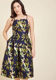 Ritz and Wisdom Midi Dress in Tropical Birds
