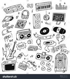 Bullet journal inspo · set of music doodle isolated on white background music doodle, doodle icon, music drawings Music Drawings, Doodle Drawings, Doodle Art, Doodle Icon, Desenhos Old School, Music Doodle, Notebook Doodles, Tattoo Flash Art, Music Backgrounds
